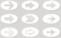 Insieme delle frecce bianche e grige Illustrazione sulla parte posteriore di gray Immagini Stock