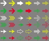 Insieme delle frecce colorate Illustrazione isolata su fondo grigio Fotografia Stock Libera da Diritti