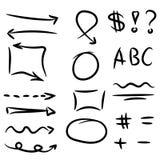 Insieme delle frecce, del cerchio e dei quadrati disegnati a mano per la messa in evidenza del testo illustrazione vettoriale