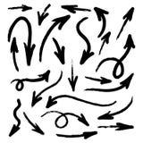 Insieme delle frecce disegnate acquerello della mano di lerciume isolate su bianco Fotografie Stock Libere da Diritti