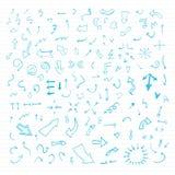 Insieme delle frecce disegnate a mano di vettore blu. Immagini Stock Libere da Diritti