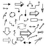 Insieme delle frecce disegnate a mano su fondo bianco Fotografia Stock Libera da Diritti