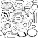 Insieme delle frecce e del pennarello disegnato a mano delle strutture Fotografie Stock Libere da Diritti
