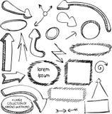 Insieme delle frecce e del pennarello disegnato a mano delle strutture Fotografia Stock Libera da Diritti