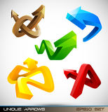 Insieme delle frecce lucide 3D Fotografie Stock Libere da Diritti