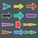 Insieme delle frecce piane variopinte illustrazione di stock