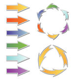 Insieme delle frecce variopinte e del diagramma illustrazione di stock