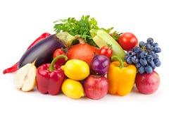Insieme delle frutta e delle verdure isolate Fotografie Stock