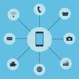 Insieme delle funzioni delle icone che sono mobili, media Vettore illustrazione di stock