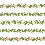 Insieme delle ghirlande senza cuciture orizzontali con i fiori rosa e bianchi Illustrazione di vettore Immagine Stock Libera da Diritti