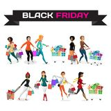 Insieme delle giovani donne che comperano il giorno delle vendite di Black Friday Florida Fotografie Stock Libere da Diritti