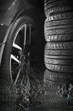 Insieme delle gomme di automobile con le ruote della lega Immagine Stock Libera da Diritti