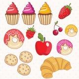 Insieme delle guarnizioni di gomma piuma, dei dolci, del croissant e dei frutti Vettore Immagini Stock Libere da Diritti