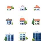 Insieme delle icone admistrative della costruzione della famiglia della casa di ufficio Immagine Stock Libera da Diritti