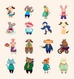 Insieme delle icone animali Fotografie Stock