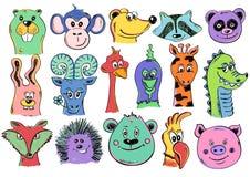 Insieme delle icone animali del fronte del fumetto divertente Immagini Stock
