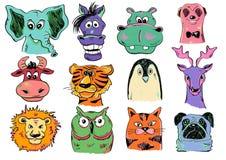 Insieme delle icone animali del fronte del fumetto divertente Fotografia Stock
