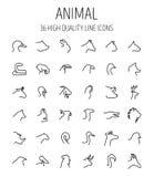 Insieme delle icone animali nella linea stile sottile moderna Fotografie Stock Libere da Diritti