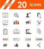 Insieme delle icone app, seo, smm Immagini Stock