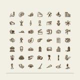 Insieme delle icone - arti Fotografie Stock