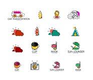 Insieme delle icone astratte di logo di viaggio Affare, app Immagini Stock Libere da Diritti