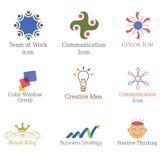 Insieme delle icone astratte, logos degli elementi di progettazione, simboli per l'affare, comunicazione, prodotto Immagini Stock Libere da Diritti