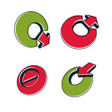 Insieme delle icone astratte tridimensionali, segno del gioco, frecce Fotografie Stock