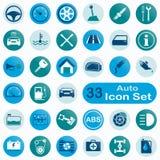 Insieme delle icone automatiche rotonde Immagine Stock Libera da Diritti