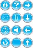 Insieme delle icone blu illustrazione vettoriale