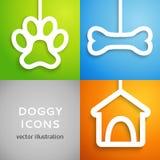 Insieme delle icone canine di applique. Illustrazione di vettore Fotografia Stock