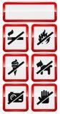 Insieme delle icone che vietano fumare, fuoco, cane ecc. Immagini Stock