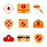 Insieme delle icone che visualizzano sicurezza dell'IT illustrazione vettoriale