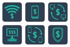 Insieme delle icone circa i pagamenti online con i simboli del dollaro Fotografie Stock