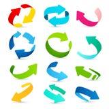 Insieme delle icone colorate delle frecce Vettore Fotografia Stock Libera da Diritti
