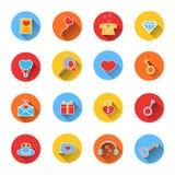 Insieme delle icone colorate per il San Valentino Fotografia Stock