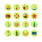 Insieme delle icone colorate spiaggia Fotografia Stock