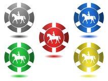 Insieme delle icone a colori, cavallo, illustrazione Fotografie Stock