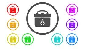 Insieme delle icone a colori, illustrazione, una borsa Fotografie Stock