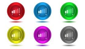 Insieme delle icone a colori, illustrazione, volume, adeguamento del volume Fotografia Stock
