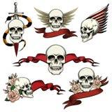 Insieme delle icone commemorative del cranio Fotografie Stock