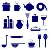 Insieme delle icone con gli elementi degli utensili della cucina, colore blu Fotografie Stock Libere da Diritti
