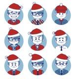 Insieme delle icone con i caratteri di affari di Natale illustrazione vettoriale