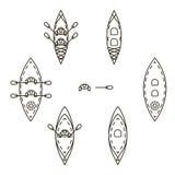 Insieme delle icone con i kajak illustrazione vettoriale