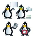 Insieme delle icone con i pinguini Fotografie Stock
