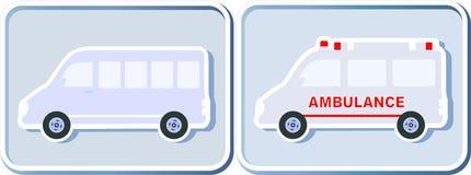 Insieme delle icone con il minibus Fotografie Stock