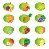 Insieme delle icone con la frutta. Fotografia Stock Libera da Diritti