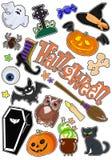 Insieme delle icone con le figure per Halloween Autoadesivi del disegno Vettore Immagini Stock Libere da Diritti