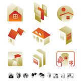 Insieme delle icone con le siluette degli insetti Fotografia Stock