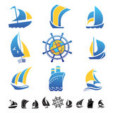 Insieme delle icone con le siluette delle barche Fotografie Stock