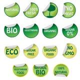 Insieme delle icone con testo circa i prodotti naturali. Fotografia Stock Libera da Diritti